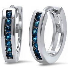 Round Blue Sapphire Hoop .925 Sterling Silver Earrings