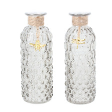 Gisela Graham One Grey Glass Bottle Ornament With Gold Charm