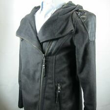 Harley Davidson Women Fitted Jacket Fashion Zip Size L Charcoal Gray Wool Gray