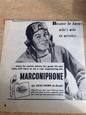Ephemera 1943 Ww2 Advert Marconiphone Marconi Man Forces Sailor M5074