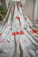 NEXT STONE ORANGE COTTON FLORAL EYELET CURTAINS,53WX54D,GINKO,LINED,LONG,1OF2PRS