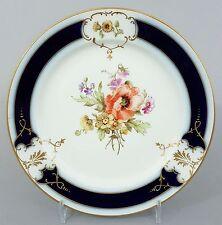 (K079) KPM Berlin Teller, um 1900, Blumendekor, kobaltblau und Gold , ø 17cm