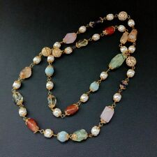 40'' Sea Shell Pearl Aquamarine Amethyst Carnelian Rose Quartz Prehnite Necklace