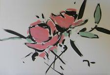 JOSE TRUJILLO Acrylic Painting Expressionist Pink Roses Flowers Botanical 9/17