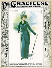 Art Fashion Prints Edwardian ladies dress and hat fashion posters 10 x 8