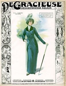 Vintage Edwardian ladies dress and hat fashion posters 10 x 8
