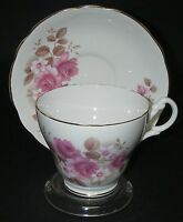 CUP & SAUCER Royal Ascot Bone China Footed gold gilt Floral Pink Roses.