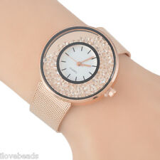 Women Wristwatch Stainless Steel Quicksand Lovers Gift Bracelet Watch NEW