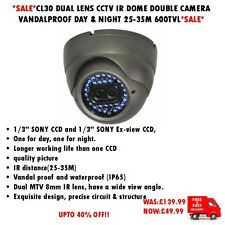 CL30 DUAL LENS CCTV IR DOME DOUBLE CAMERA VANDALPROOF DAY & NIGHT 25-35M 600TVL