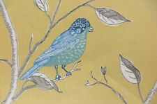 "Sanderson Curtain Fabric Design ""finches"" 75 Cm X 133 Yellow 100 Glazed Cotton"