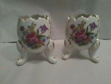 L35 Vtg Small Porcelain Scalloped Edge Egg Trinket Dishes~Original Label~Guc