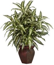 30 in. Artificial Green Aglonema with Decortaive Vase Silk Plant Colored Leaves