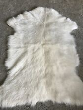 Oka 100% Goat Fur Small Rug Throw Chyangra Goat Hair White - Albino