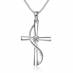 Womens Silver Cross White Rhinestone Pendant Necklace Engagement Jewelry