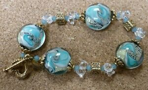 ALEXIS K Murano Venetian Blue Glass and Crystal Bracelet with Heart Clasp