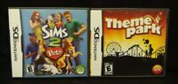 Sims 2 Pets + Theme Park  - Nintendo DS Lite 3DS 2DS 2 Game Lot Tested Complete