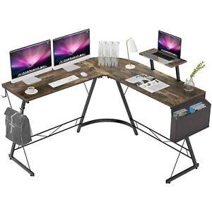 "L Shaped Gaming Desk, 51"" Home Office Desk with Round Corner Computer Desk"