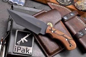 CFK IPAK Handmade D2 Custom ELK HERD & ANTLER Engraved Rosewood TANTO Camp Knife