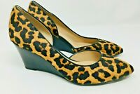 "Franco Sarto Womens Leopard Animal Print Pumps Size 6.5 Calf Hair 3"" heel wedge"