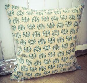 82. Handmade Cross Design Green LINEN Cotton Cushion Cover.Various sizes