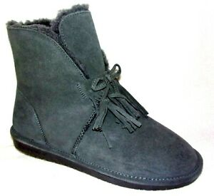 NEW BEARPAW CHRISTIE GRAY SUEDE SHORT ANKLE BOOTS 11 W