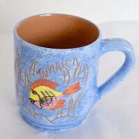 Jamaica Mug Wassi Art by Marlon Blue Ocean Fish Hand Thrown Pottery Coffee Cup