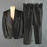 Men's 1970s Black Western Leisure Suit Jacket 40R Pants 36x31 70s Vtg Polyester