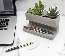 Kikkerland Large Concrete Desktop Planter & Pen Pencil Holder Office House Plant