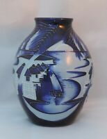 Moorcroft Blue Lagoon Pottery Vase - 2010 - 13cm tall - signed by Paul Hilditch