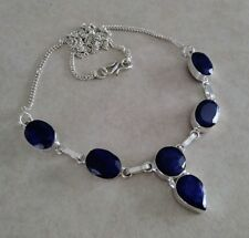"""NATURAL OVAL BLUE SAPPHIRE 925 STERLING SILVER NECKLACE 22"""" HANDMADE JEWELRY"""