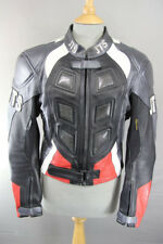 JTS BLACK, SILVER, RED & WHITE LEATHER BIKER JACKET + REMOVABLE CE ARMOUR SIZE12