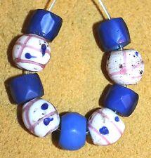 Antique Russian Blue Czech Beads Antique Venetian White Eye Beads African Trade
