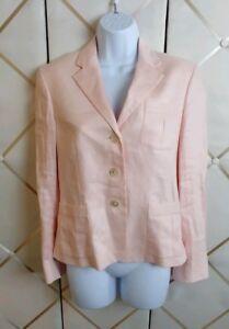 LAUREN Ralph Lauren Linen Button Front Lined Career Blazer Jacket Sz 6 Petite