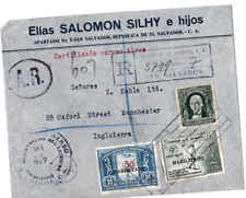 1937 EL SALVADOR AIRMAIL REGISTERED A.R. COVER TO ENGLAND OVERPRINT STAMPS 70*