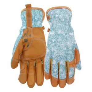 Style Selections Womens Large Leather Beige/Turquoise Garden Gloves495722