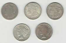 United States 1901 1921 1922 1923 Morgan & Peace Silver Dollar Lot (5 Pieces)
