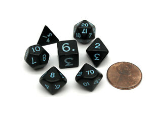 Mini Polyhedral 7 Piece Opaque Dice Set Small 11mm Die - Black with Light-Blue