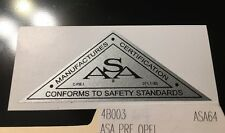 ASA Manufactures Certification Decal Pre OPEI For Mowers Engines 1964 To 1972
