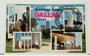 TX Greetings From DALLAS TEXAS Postage Stamp View Postcard I14