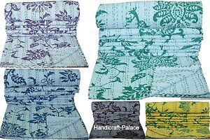 Indien Coton Double Set Réversible Floral Imprimé Vintage Gudri