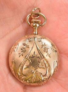 Art Nouveau Elgin Ladies 14K Gold Hunting Case Pendant Watch 1904 30.6 Grams