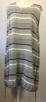 MASAI Size XL Grey Black Striped Balloon Dress Pockets Drawstring Hem Lagenlook