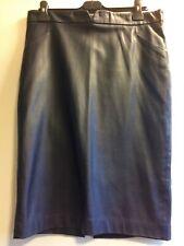 "ZARA Dark Blue Vegan Faux Leather Pencil Skirt size XL 34"" waist"