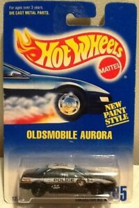 Hot Wheels 1991 #265 Oldsmobile Aurora Police Car Black MINT