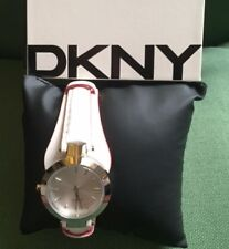 BNWT DKNY NY8749 LADIES WH COR SASHA Calfskin STAINLESS STEEL CASE WATCH