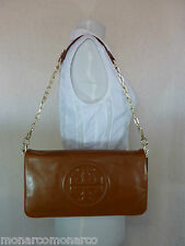 NWT Tory Burch Luggage Brown Leather BOMBE Reva Shoulder Bag/Clutch - $350