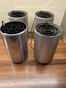 set of 4 vintage Halston style can uplight lamps stainless steel