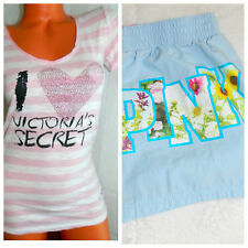LOT of 2 VICTORIA'S SECRET PINK Medium SHIRT SHORTS Sleepwear PJs BLUE Floral  ^