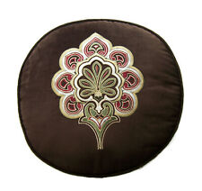 "J Queen New York Floral Embroidered 15"" Round Decorative Pillow Brown"