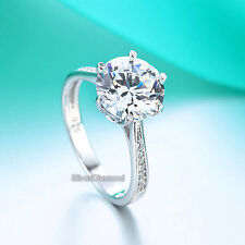 Wedding Engagement Ring Simulated Diamond Fine 925 Sterling Silver 3 Carat